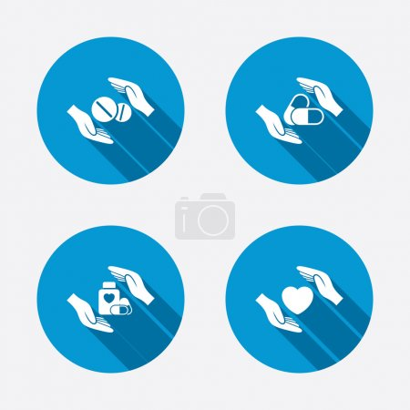Illustration for Hands insurance icons. Health medical insurance symbols. Pills drugs and tablets bottle signs. Circle concept web buttons. Vector - Royalty Free Image