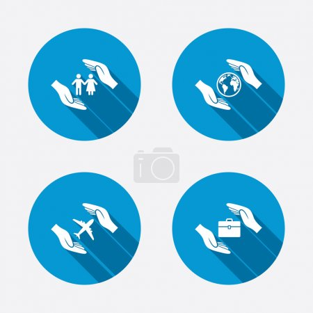 Hands insurance icons.