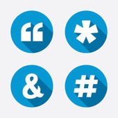 Quote asterisk footnote icons Hashtag social media and ampersand symbols Programming logical operator AND sign Circle concept web buttons Vector