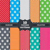 Seamless patterns and textures Sale arrow tag icons Discount special offer symbols 10 20 30 and 40 percent off signs Endless backgrounds with circles lines and geometric elements Vector