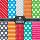 Seamless patterns and textures Sale bag tag icons Discount special offer symbols 50 60 70 and 80 percent discount signs Endless backgrounds with circles lines and geometric elements Vector