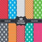 Seamless patterns and textures Sale price tag icons Discount special offer symbols 50 60 70 and 80 percent off signs Endless backgrounds with circles lines and geometric elements Vector