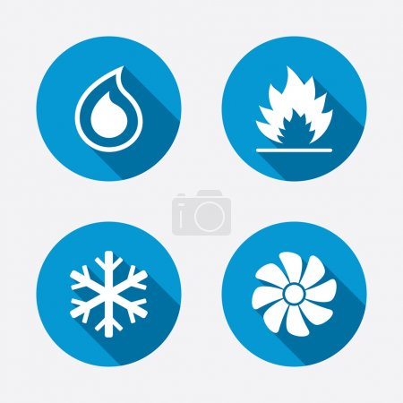 Illustration for HVAC icons. Heating, ventilating and air conditioning symbols. Water supply. Climate control technology signs. Circle concept web buttons. Vector - Royalty Free Image