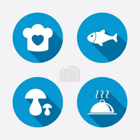 Illustration pour Chapeau de chef avec des icônes de coeur et de casserole. Poisson et bolet champignons signes. Plat repas chaud servant symbole. Cercle concept boutons web. Vecteur - image libre de droit