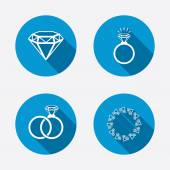 Rings icons Jewelry with shine diamond signs Wedding or engagement symbols Circle concept web buttons Vector