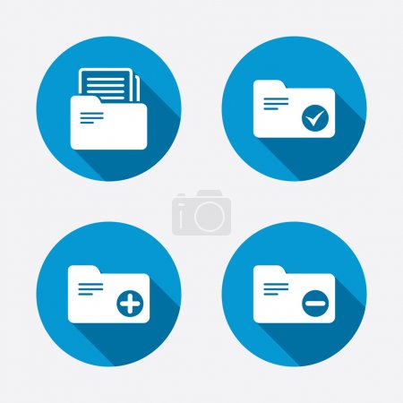 Illustration pour Reliures comptables icônes. Ajouter ou supprimer le symbole de dossier de document. Gestion de la comptabilité avec case à cocher. Cercle concept boutons web. Vecteur - image libre de droit