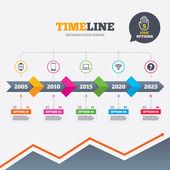 Timeline infographic with arrows Notebook and smartphone icons Smart watch symbol Wi-fi sign Wireless Network symbol Mobile devices Five options with hand Growth chart Vector