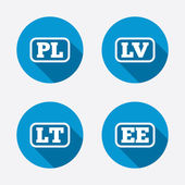 Language icons PL LV LT and EE translation symbols Poland Latvia Lithuania and Estonia languages Circle concept web buttons Vector