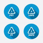PET 1 Ld-pe 4 PP 5 and Hd-pe 2 icons High-density Polyethylene terephthalate sign Recycling symbol Circle concept web buttons Vector