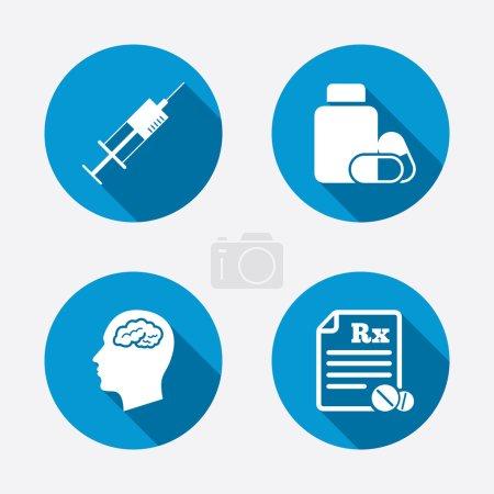 Tablets bottle, brain, Rx.