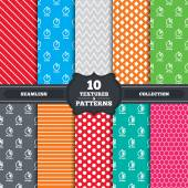 Seamless patterns and textures Timer icons 5 15 20 and 30 minutes stopwatch symbols Endless backgrounds with circles lines and geometric elements Vector