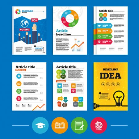 Illustration for Brochure or flyers design. Pencil with document and open book icons. Graduation cap and geography globe symbols. Learn signs. Business poll results infographics. Vector - Royalty Free Image