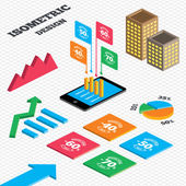 Isometric design Graph and pie chart Sale discount icons Special offer stamp price signs 40 50 60 and 70 percent off reduction symbols Tall city buildings with windows Vector