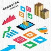 Isometric design Graph and pie chart Hipster photo camera icon Like and Chat speech bubble sign Hand thumb up Bird symbol Tall city buildings with windows Vector