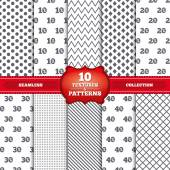 Repeatable patterns and textures Sale discount icons Special offer price signs 10 20 30 and 40 percent off reduction symbols Gray dots circles lines on white background Vector
