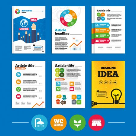 Illustration for Brochure or flyers design. Swimming pool icons. Shower water drops and swimwear symbols. WC Toilet sign. Trunks and women underwear. Business poll results infographics. Vector - Royalty Free Image