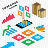Isometric design Graph and pie chart Sale arrow tag icons Discount special offer symbols 10 20 30 and 40 percent discount signs Tall city buildings with windows Vector