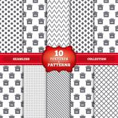Repeatable patterns and textures Sale gift box tag icons Discount special offer symbols 50 60 70 and 80 percent discount signs Gray dots circles lines on white background Vector