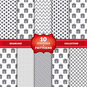 Repeatable patterns and textures Sale gift box tag icons Discount special offer symbols 10 20 30 and 40 percent off signs Gray dots circles lines on white background Vector