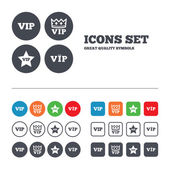 VIP icons Very important person symbols King crown and star signs Web buttons set Circles and squares templates Vector