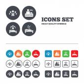 Five stars hotel icons Travel rest place symbols Human sleep in bed sign Hotel 24 hours registration or reception Web buttons set Circles and squares templates Vector