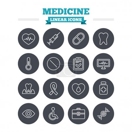 Medicine linear icons set.