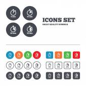 Timer icons 5 15 20 and 30 minutes stopwatch symbols Web buttons set Circles and squares templates Vector