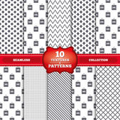 Repeatable patterns and textures Sale bag tag icons Discount special offer symbols 10 20 30 and 40 percent discount signs Gray dots circles lines on white background Vector