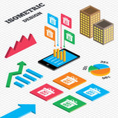 Isometric design Graph and pie chart Sale gift box tag icons Discount special offer symbols 10 20 30 and 40 percent off signs Tall city buildings with windows Vector