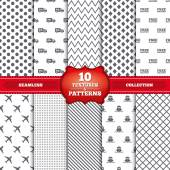 Repeatable patterns and textures Cargo truck and shipping icons Shipping and free delivery signs Transport symbols 24h service Gray dots circles lines on white background Vector