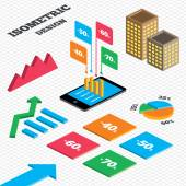 Isometric design Graph and pie chart Sale discount icons Special offer price signs 40 50 60 and 70 percent off reduction symbols Tall city buildings with windows Vector