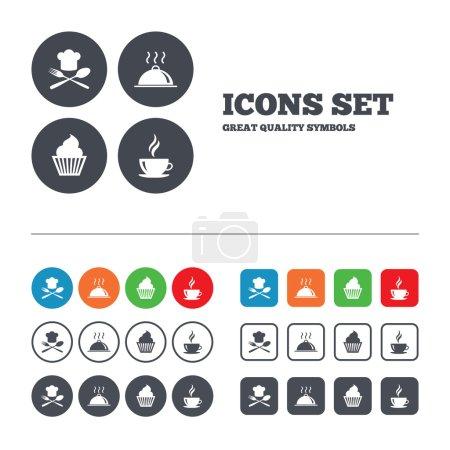 Illustration pour Icônes de la nourriture et des boissons. Muffin cupcake symbole. Fourchette et cuillère avec signe Chef chapeau. Une tasse de café chaude. Plat de service. Boutons web activés. Modèles de cercles et de carrés. Vecteur - image libre de droit