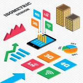 Isometric design Graph and pie chart Mobile telecommunications icons 3G 4G and LTE technology symbols Wi-fi Wireless and Long-Term evolution signs Tall city buildings with windows Vector