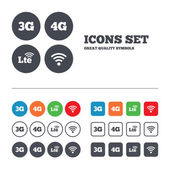 Mobile telecommunications icons 3G 4G and LTE technology symbols Wi-fi Wireless and Long-Term evolution signs Web buttons set Circles and squares templates Vector
