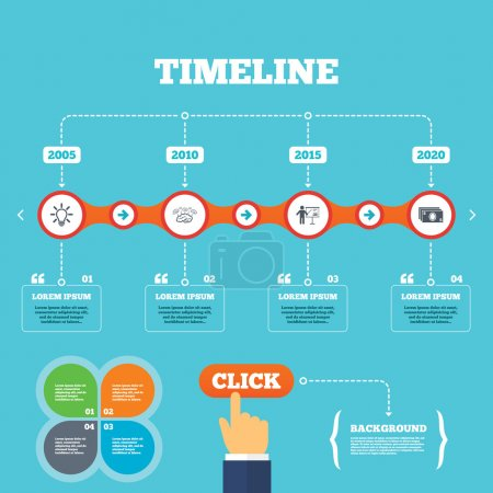 Illustration for Timeline with arrows and quotes. Presentation billboard, brainstorm icons. Cash money and lamp idea signs. Man standing with pointer. Scheme and Diagram symbol. Four options steps. Click hand. Vector - Royalty Free Image