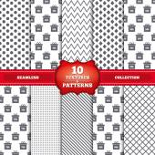 Repeatable patterns and textures Sale gift box tag icons Discount special offer symbols 30 50 70 and 90 percent discount signs Gray dots circles lines on white background Vector