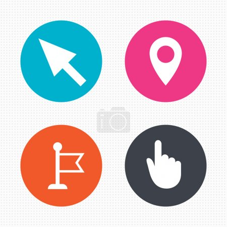 Illustration pour Cercle les boutons. Souris icône du curseur. Symboles de pointeur main ou drapeau. Carte emplacement marqueur signe. Texture carrée sans couture. Vecteur - image libre de droit