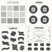Seamless patterns Sale tags labels Sale bag tag icons Discount special offer symbols 10 20 30 and 40 percent off signs Vintage decoration Vector
