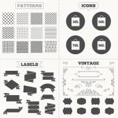 Seamless patterns Sale tags labels Sale bag tag icons Discount special offer symbols 30 50 70 and 90 percent discount signs Vintage decoration Vector