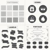 Seamless patterns Sale tags labels Hand wash icon Machine washable at 30 degrees symbols Laundry washhouse and water drop signs Vintage decoration Vector
