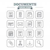 Documents linear icons set