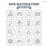 GPS navigation linear icons