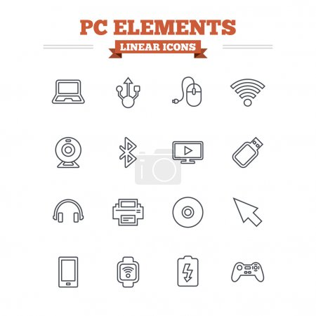 Computer elements linear icons set.