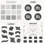 Seamless patterns Sale tags labels Sale discount icons Special offer price signs 10 20 25 and 30 percent off reduction symbols Vintage decoration Vector