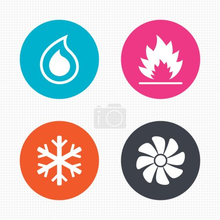 Illustration for Circle buttons. HVAC icons. Heating, ventilating and air conditioning symbols. Water supply. Climate control technology signs. Seamless squares texture. Vector - Royalty Free Image