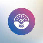Tachometer sign icon 100 km per hour revolution-counter symbol Car speedometer performance Icon on blurred background Vector