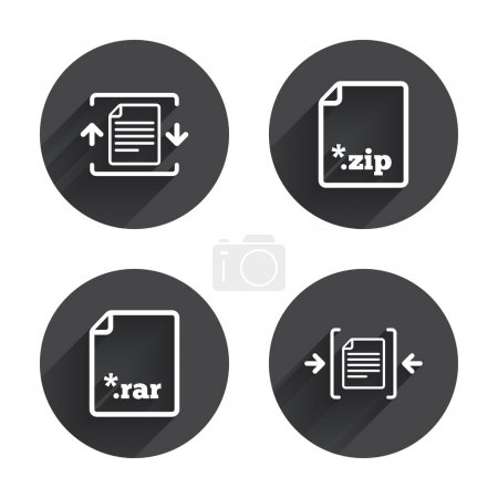 Archive file icons. Compressed zipped document sig...