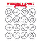 Winners and sport icons set