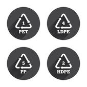 Recycling PET packaging icons set