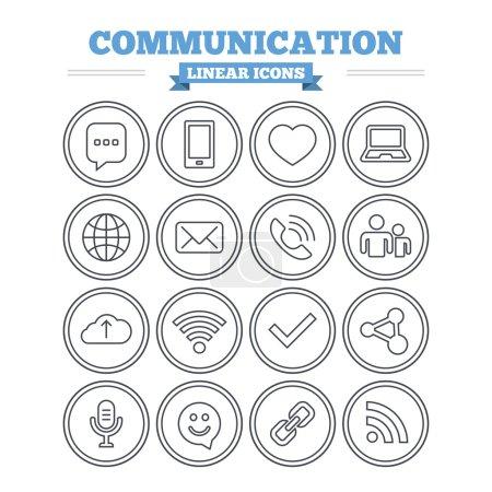 Communication, technology icons set